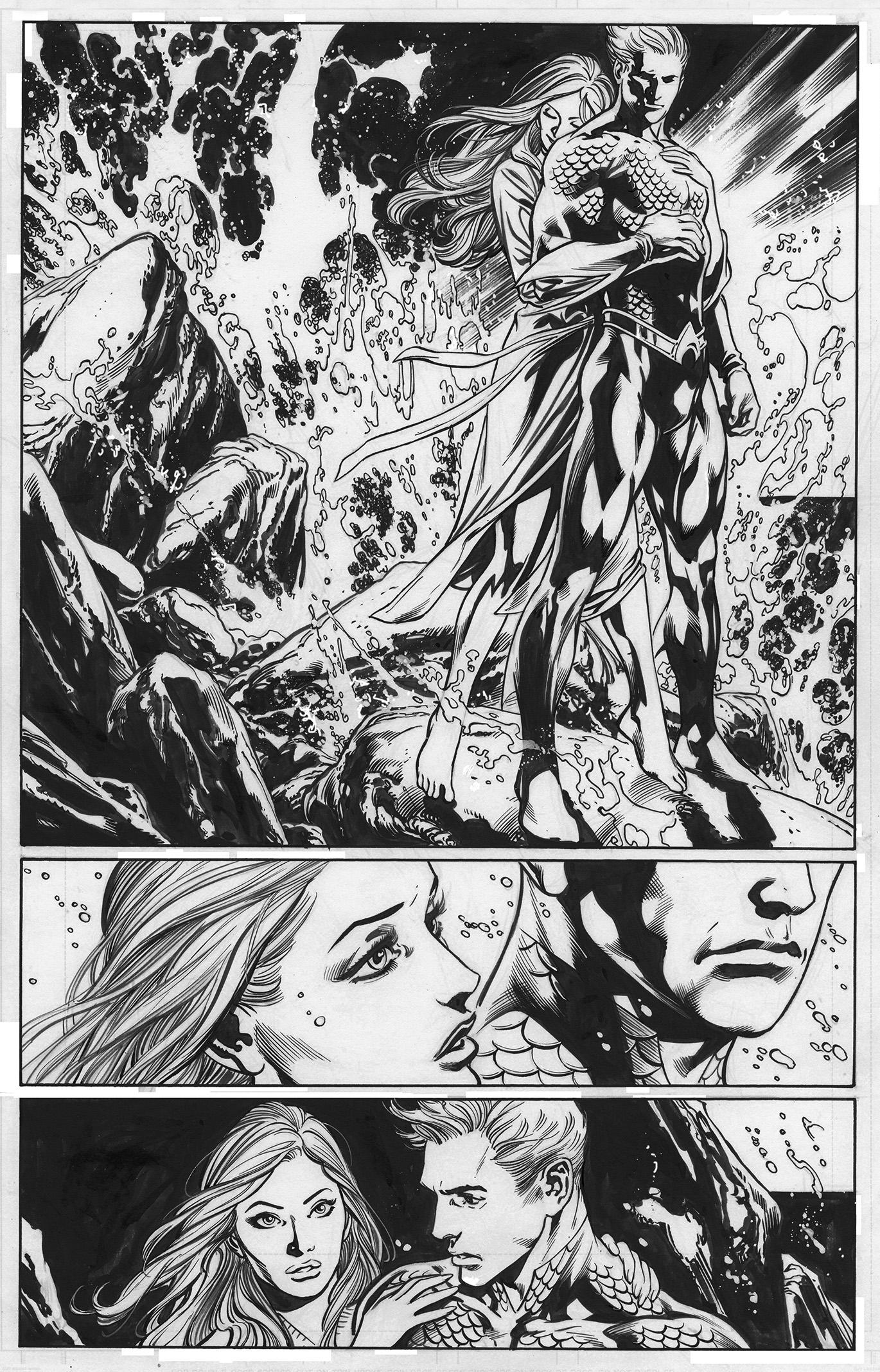 Aquaman & Mera. Inks over Ivan Reis pencils.